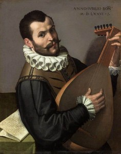 PASSEROTTI, Bartolomeo - Portrait of a Man Playing a Lute 1576