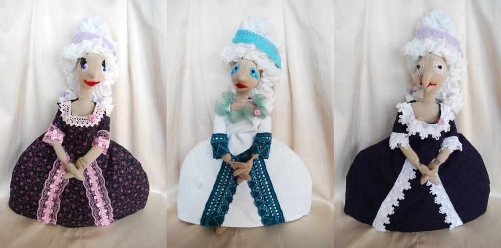 Rokokó fodrászos öltöztetős kézműves babák